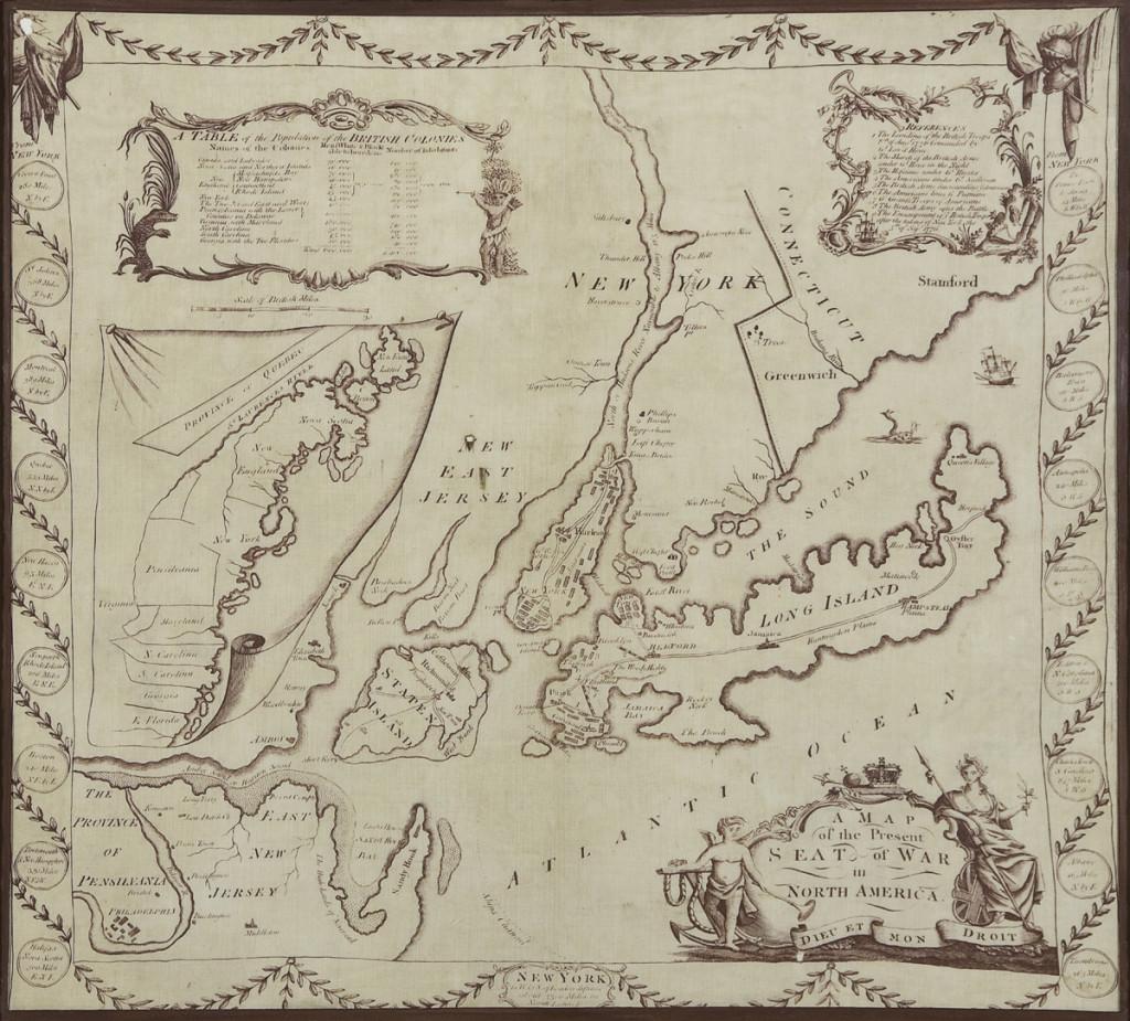 Winterthur Common Destinations (Maps) Seat of War Handkerchief 1959.0965